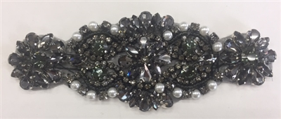 RHS-APL-862-AB. Hot Fix / Sew-On Black Crystal Rhinestone Applique with Black Beads and Silver Pearls - 5 X 2 Inches