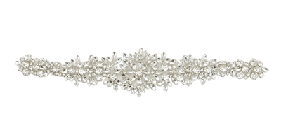 RHS-APL-865-SILVER.  Hot Fix / Sew-On Clear Crystal Rhinestone Applique - 11.5 X 2 Inches