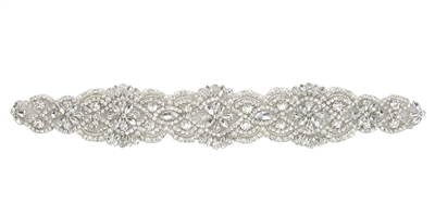 RHS-APL-903-SILVER.   Hot Fix / Sew-On Clear Crystal Rhinestone Applique - Silver Beads - 12 x 2 Inches