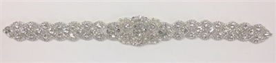 RHS-APL-913-SILVER.   Hot-Fix and Sew-On Clear Crystal Rhinestone Applique - With Pearls, Silver Beads and Clear Crystals - 18 x 2 Inches