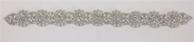 RHS-APL-914-SILVER.   Hot-Fix and Sew-On Clear Crystal Rhinestone Applique - With Pearls, Silver Beads and Clear Crystals - 18.5 x 1.5 Inches