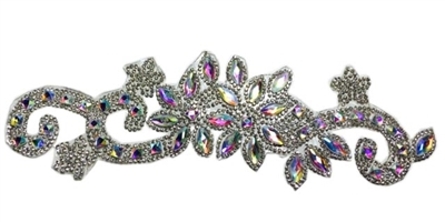 RHS-APL-P085-AB.  CLEAR AND AB ACRYLIC RHINESTONE APPLIQUE - 9 INCHES