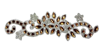 RHS-APL-085-GOLD.  CLEAR AND GOLD ACRYLIC RHINESTONE APPLIQUE - 9 INCHES
