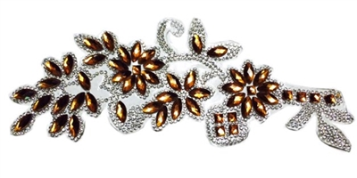 RHS-APL-086-GOLD.  CLEAR AND GOLD ACRYLIC RHINESTONE APPLIQUE - 8.5 INCHES