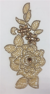 RHS-APL-P094-GOLD. Gold Hot-Fix Iron-On Acrylic Patch Applique - 7 x 3 Inches