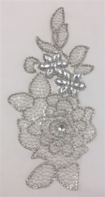 RHS-APL-P094-SILVER. Silver Hot-Fix Iron-On Acrylic Patch Applique - 7 x 3 Inches