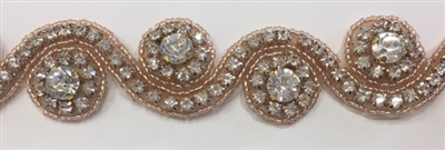 RHS-TRM-1152-GOLD. HOT FIX IRON-ON CLEAR CRYSTAL RHINESTONE TRIM WITH ROSE GOLD BEADS - 1.5 INCH WIDE
