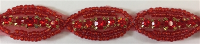 RHS-TRM-1268-RED.  RED CRYSTAL RHINESTONE TRIM WITH RED BEADS - 5/8 INCHES WIDE