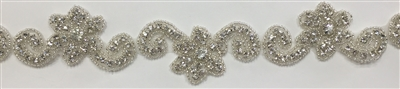 RHS-TRM-1298-SILVER.  CRYSTAL RHINESTONE TRIM - 1.75 INCHES WIDE - REPEAT LENGTH 6 INCHES