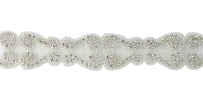 RHS-TRM-1302-SILVER.  CRYSTAL RHINESTONE TRIM - 1.5 INCHES WIDE - REPEAT LENGTH 3 INCHES