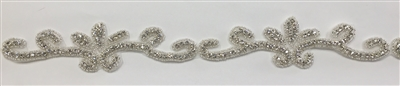 CRYSTAL RHINESTONE TRIM - 1.75 INCHES WIDE - REPEAT LENGTH 7 INCHES