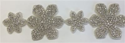 RHS-TRM-1322-SILVER.  CRYSTAL RHINESTONE TRIM - 3 INCHES WIDE - REPEAT LENGTH 7.5 INCHES