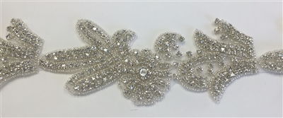 RHS-TRM-1338-SILVER.  CRYSTAL RHINESTONE TRIM - 3 INCHES WIDE - REPEAT LENGTH 7 INCHES