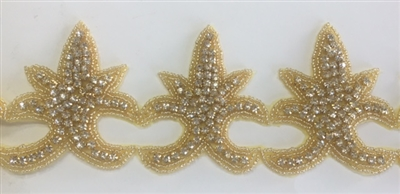 RHS-TRM-1344-GOLD.  CRYSTAL RHINESTONE TRIM - 3 INCHES WIDE - REPEAT LENGTH 2.5 INCHES