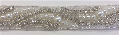 RHS-TRM-1400-SILVER.  CRYSTAL RHINESTONE TRIM WITH WHITE BEADS- SILVER - 1 INCH WIDE