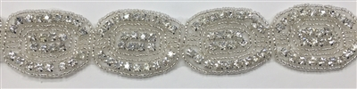 RHS-TRM-1499-SILVER.  CRYSTAL RHINESTONE TRIM - 1.25 INCHES WIDE - REPEAT LENGTH 1.75 INCHES
