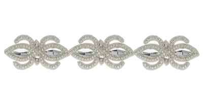 RHS-TRM-1504-SILVER.  CRYSTAL RHINESTONE TRIM - 2 INCHES WIDE - REPEAT LENGTH 4 INCHES