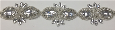 RHS-TRM-1507-SILVER.  CRYSTAL RHINESTONE TRIM - 2.5 INCHES WIDE - REPEAT LENGTH 3.75 INCHES