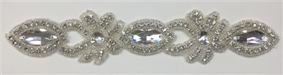 RHS-TRM-1531-SILVER.  CRYSTAL RHINESTONE TRIM - 2 INCHES WIDE - REPEAT LENGTH 4 INCHES