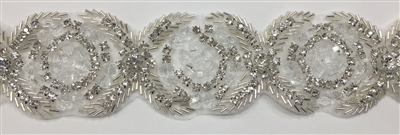 RHS-TRM-1541-SILVER.  CRYSTAL RHINESTONE TRIM - 2 INCHES WIDE - REPEAT LENGTH 3 INCHES