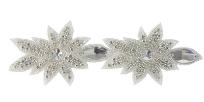 RHS-TRM-1565-SILVER.  CRYSTAL RHINESTONE TRIM - 3 INCHES WIDE - REPEAT LENGTH 5 INCHES
