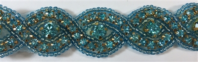 RHS-TRM-1570-TURQUOISE.  TURQUOISE CRYSTAL RHINESTONE TRIM WITH TURQUOISE BEADS - 1 INCH WIDE