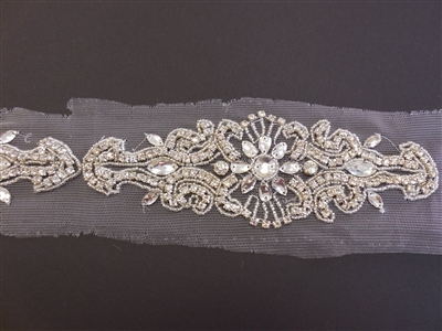 RHS-TRM-1574-SILVER.  CRYSTAL RHINESTONE TRIM - 2.5 INCHES WIDE - REPEAT LENGTH 8.5 INCHES