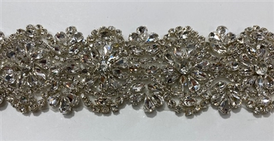 RHS-TRM-1708-SILVER.  HIGH QUALITY CRYSTAL TRIM - HOT FIX AND SEW-ON