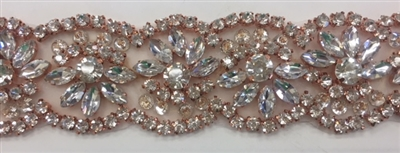 RHS-TRM-1800-ROSEGOLD. Exquisite Rose Gold Crystal Trim For Bridal Sash - Hot Fix and Sew On  - 1.5 Inch
