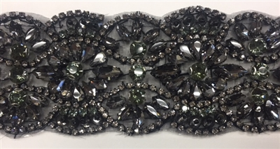 RHS-TRM-1801-BLACKBLACK. Exquisite Black Crystals and Black Beads Trim For Bridal Sash - Hot Fix or Sew On - 2.25 Inch