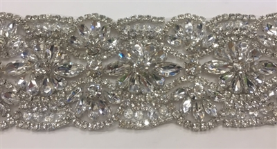 RHS-TRM-1801-SILVER.  HIGH QUALITY CRYSTAL TRIM - HOT FIX AND SEW-ON - 2.25 INCH