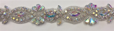 RHS-TRM-1805-AB. Hot-Fix, Sew-On Rhinestone Trim - AB Crystal Rhinestones with Silver Beads - 1.5 Inch Wide - Perfect for Sashes and Belts, Head-Bands, and Costumes