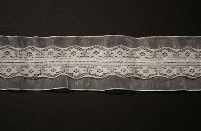 RUF-NST-106-WHITE.  Non-Stretch Ruffle Lace.