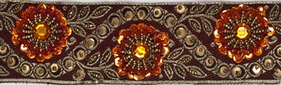 "TRM-IND-128-Burgundy.  2""-wide Handmaid Indian Trim - Dark Burgundy Background with Dark Gold Thread, Beads, Sequins and Orange Sequins and Stones.  Same as Style #124 but with smaller flowers."
