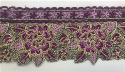TRM-IND-201-FUCHSIAROSE. Indian Trim with Fuchsia and Rose Embroidery and Metallic Gold Borders