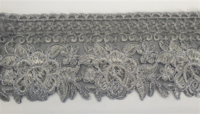 TRM-IND-202-GREY. Indian Trim with Grey Embroidery and Metallic Silver Borders