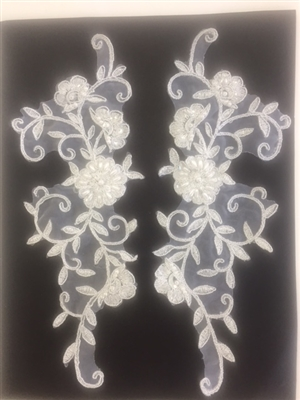 APL-BED-101-IVORY-PAIR.  Beaded Applique - Ivory - 10 x 3.5 Inch