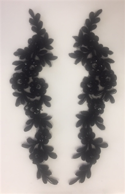 APL-BED-102-BLACK-PAIR. Beaded Applique - Black - 10 x 2.5 Inch
