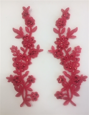 APL-BED-104-CORAL-PAIR.  Beaded Applique - Coral - 9 x 3 Inch