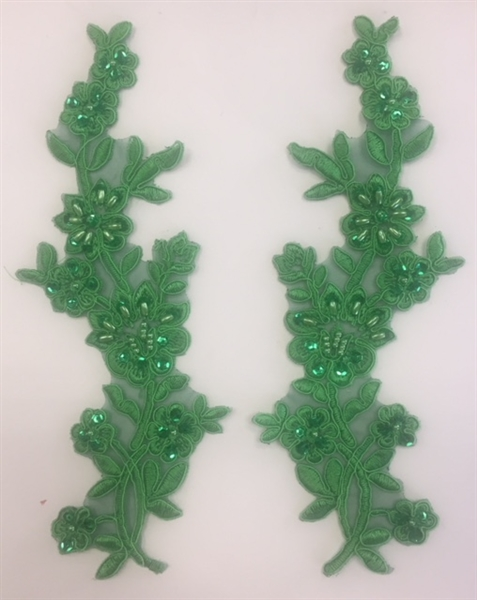 APL-BED-104-EMERALD-PAIR.  Beaded Applique - Emerald - 9 x 3 Inch