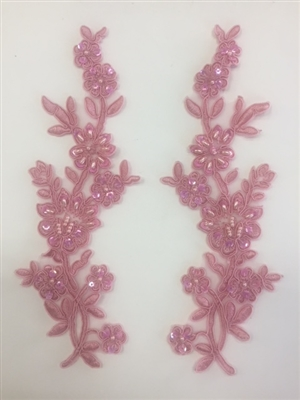 APL-BED-104-PINK-PAIR.  Beaded Applique - Pink - 9 x 3 Inch