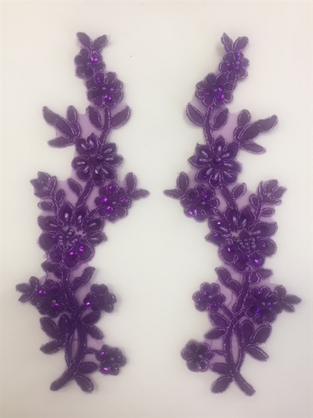 APL-BED-104-PURPLE-PAIR.  Beaded Applique - Purple - 9 x 3 Inch