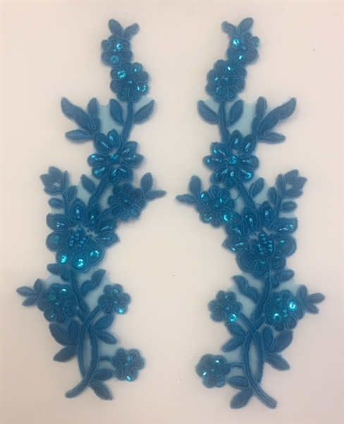 APL-BED-104-TURQUOISE-PAIR. Beaded Applique - Turquoise - 9 x 3 Inch