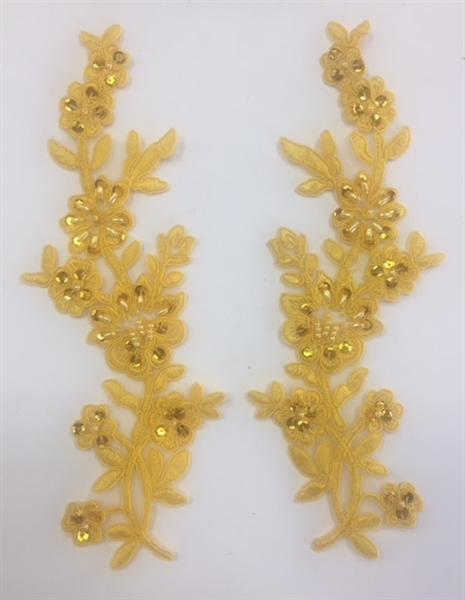 APL-BED-104-YELLOW-PAIR.  Beaded Applique - Yellow - 9 x 3 Inch