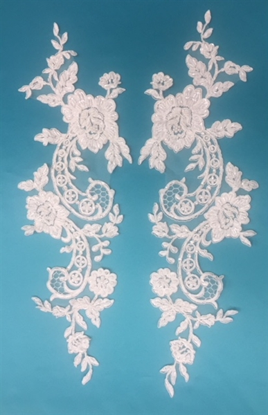 APL-BED-105-OFFWHITE-PAIR.  Beaded Applique - Off White - 21 x 6 Inch - A Pair