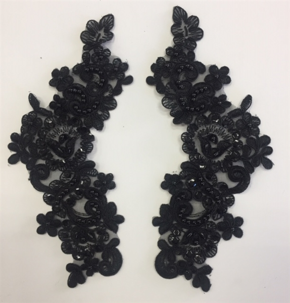 APL-BED-107-BLACK-PAIR. Beaded Applique - Black - 9.5 x 3 Inch - A Pair