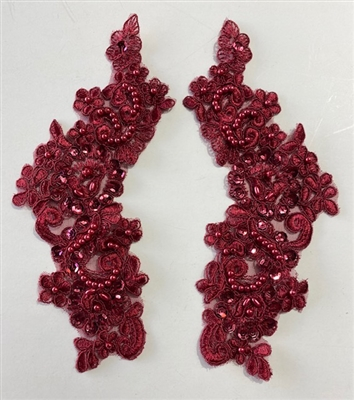 APL-BED-107-RED-PAIR. Beaded Applique - Red - 9.5 x 3 Inch - A Pair