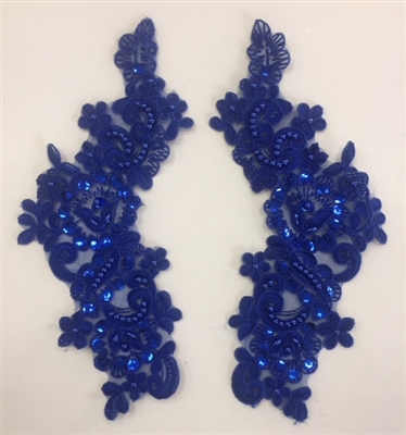 APL-BED-107-ROYALBLUE-PAIR. Beaded Applique - Royal Blue- 9.5 x 3 Inch - A Pair