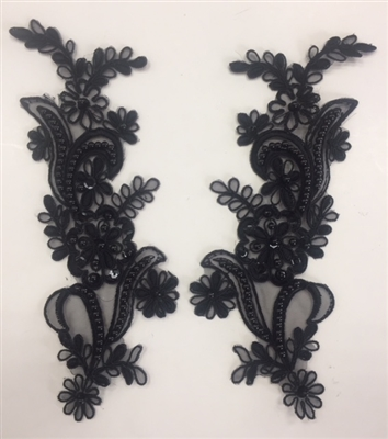 APL-BED-108-BLACK-PAIR. Beaded Applique - Black - 9 x 3 Inch - A Pair