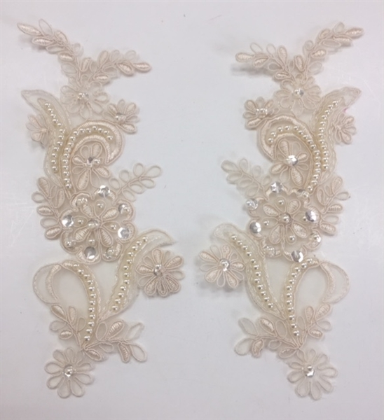 APL-BED-108-CHAMPAGNE-PAIR. Beaded Applique - Champagne - 9 x 3 Inch - A Pair